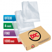 Envelope Plástico Ofício 4 Furos Fino 1000 Unidades 070FU Dac