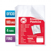 Envelope Plástico Ofício 4 Furos Fino 100 Unidades 5070-100 Dac