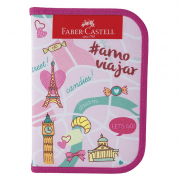 Estojo Completo 18 Itens Let's Go Rosa Faber Castell