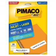 Etiqueta 6081 Ink-jet/Laser Carta 10 Folhas Pimaco