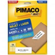 ETIQUETA PIMACO A4263 INK-JET/LASER 38,1X99MM C/350UN