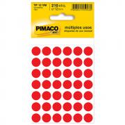 Etiqueta Pimaco TP12 Codificação Vermelha 12mm 210un
