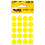 Etiqueta Pimaco TP19 Codificação Amarela 19mm 200un