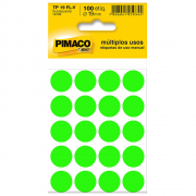 Etiqueta Pimaco TP19 Codificação Verde Fluorescente 19mm 100un