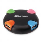HUB USB 2.0 com 4 Portas Preto/Colorido Maxprint
