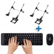 Kit Teclado/Mouse Sem Fio Logitech E 2 Suporte Para Notebook