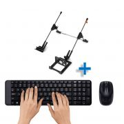 Kit Wireless Teclado/Mouse MK220 Preto Logitech e Suporte Notebook G4 Mutabis Cromado