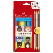Lápis de Cor 12 Cores + 6 Tons de Pele Cara & Cores Faber Castell