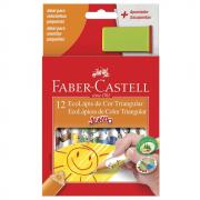 Lápis de Cor 12 Cores Jumbo Triangular + Apontador Faber Castell