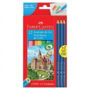 Lápis de Cor 12 Cores + Kit 3 Lápis Pretos Faber Castell