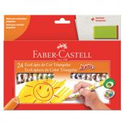 Lápis de Cor 24 Cores Jumbo Triangular + Apontador Faber Castell