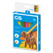 Lápis de Cor CIS 12 Cores Sextavado Jumbo Plastic + Apontador