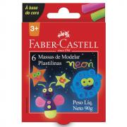 MASSA DE MODELAR 90G C/06 CORES BASE CERA NEON FABER CASTELL
