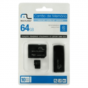 Pen Drive 64GB 3 em 1 Micro SD Adaptador MC115 Multilaser
