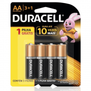Pilha Duracell AA Pequena Cartela 3+1 Unidades
