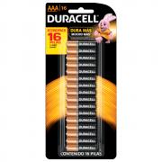 Pilha Duracell AAA Palito Cartela 16 Unidades