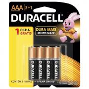 Pilha Duracell AAA Palito Cartela 3+1 Unidades