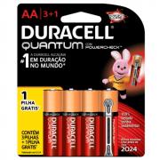 Pilha Duracell Quantum AA Pequena Cartela 3+1 Unidades