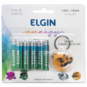 Pilha Elgin Kit 4 Unidade AA + 4 Unidades AAA Alcalinas + Chaveiro Personagem
