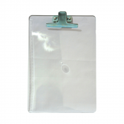 Prancheta Poliestireno Ofício cristal com Clip de Metal Acrimet
