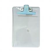 Prancheta Poliestireno ½ Ofício cristal com Clip de Metal Acrimet