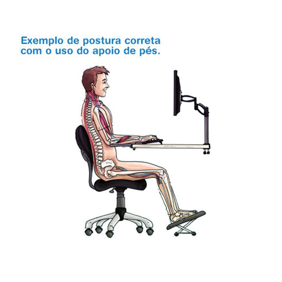 Apoio Ergonômico Para os Pés Regulagem Check Out 1007 Preto Airm