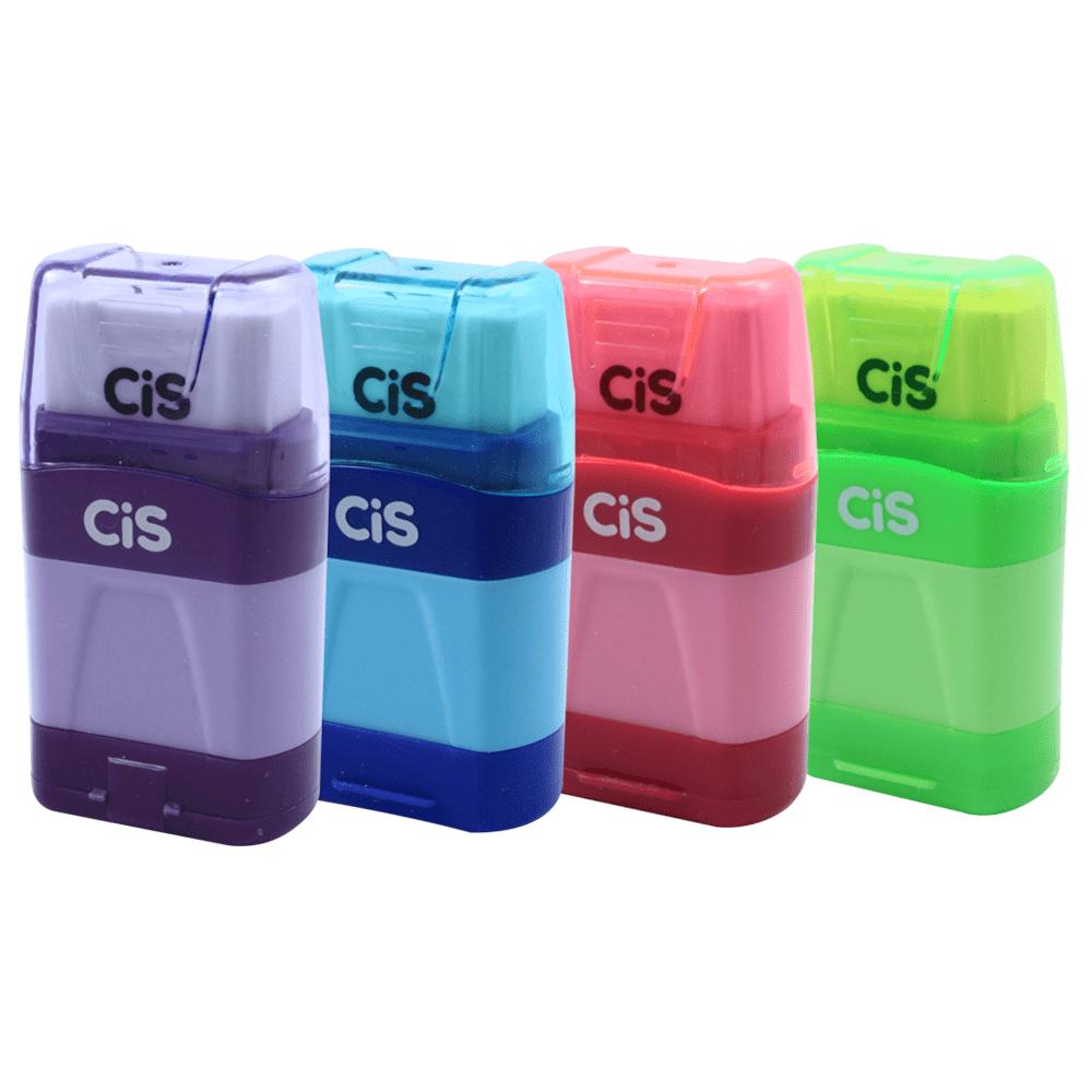 Apontador CIS-480 Depósito 2 Furos Jumbo + Borracha Cores Sortidas