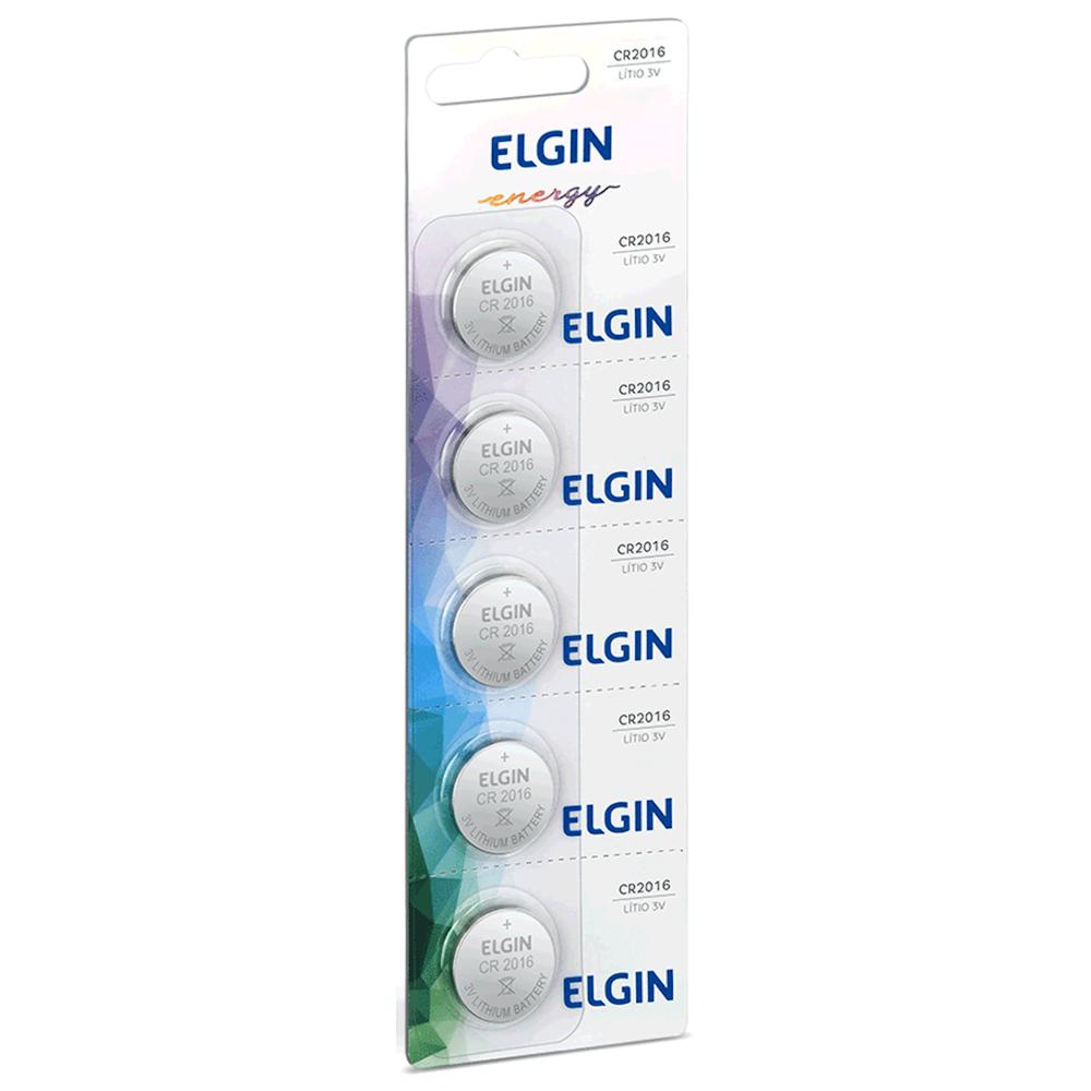 Bateria Elgin CR2016 Cartela 5 Unidades