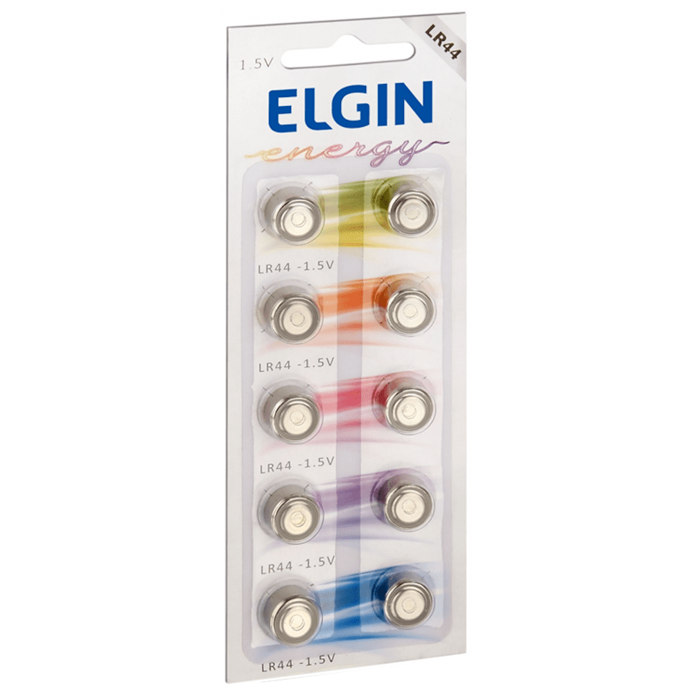 Bateria Elgin LR44 Cartela 10 Unidades