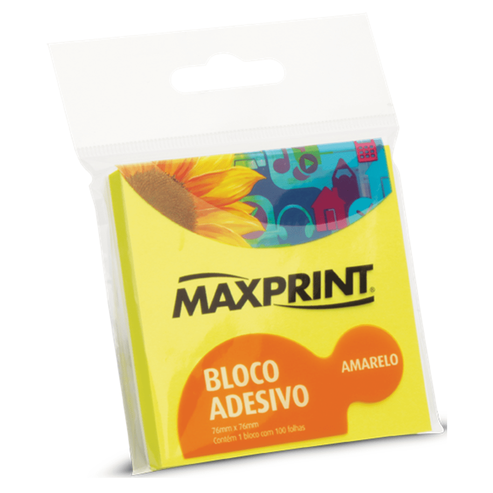 Bloco Adesivo Maxprint 76 X 76mm Amarelo Neon 74334-4