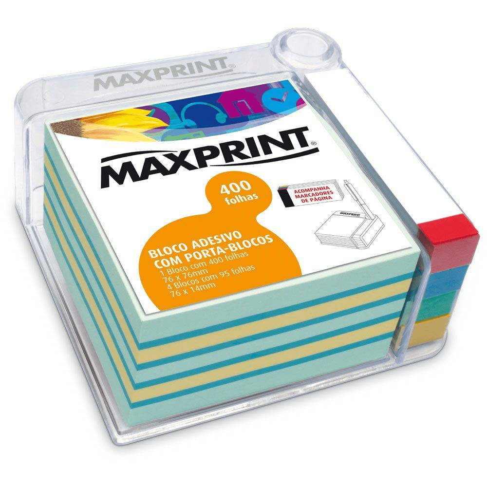 Bloco Adesivo Maxprint 76 X 76mm com Porta Blocos + 4 Blocos 76 X 14mm 74196-3