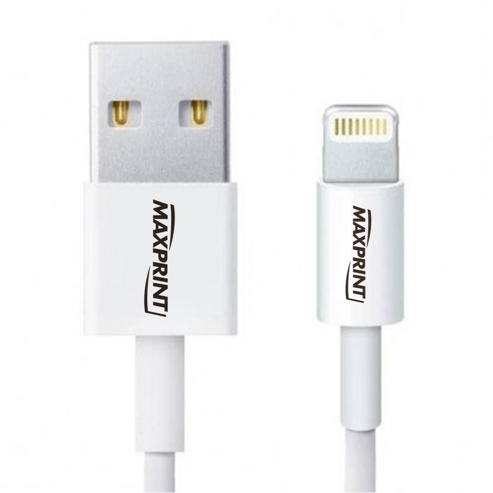 Cabo USB para iPhone Maxprint Lightning Branco 1,5 Metros 601004-6