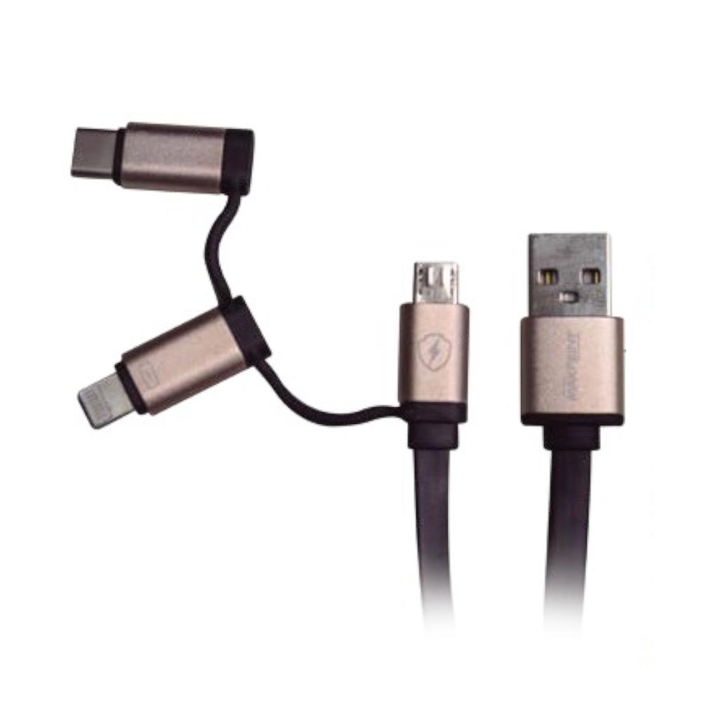 Cabo USB Universal Maxprint 3 em 1 Preto e Rosa 601234-5