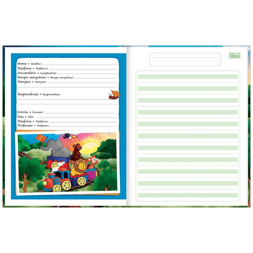 Caderno Caligrafia Tilibra Brochura Capa Dura 40 Folhas Pauta Verde Académie Kids