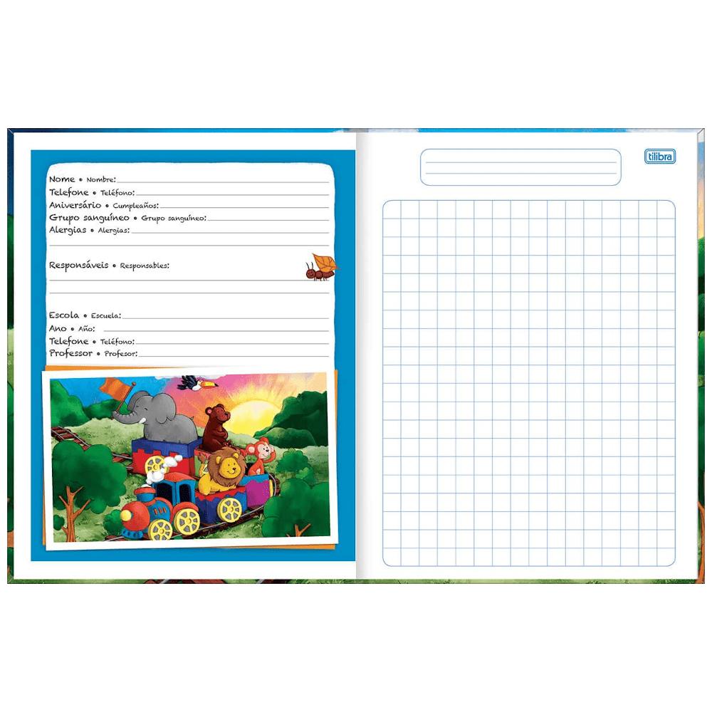 Caderno Quadriculado 7x7mm Tilibra Brochura Capa Dura 40 Folhas Académie Kids