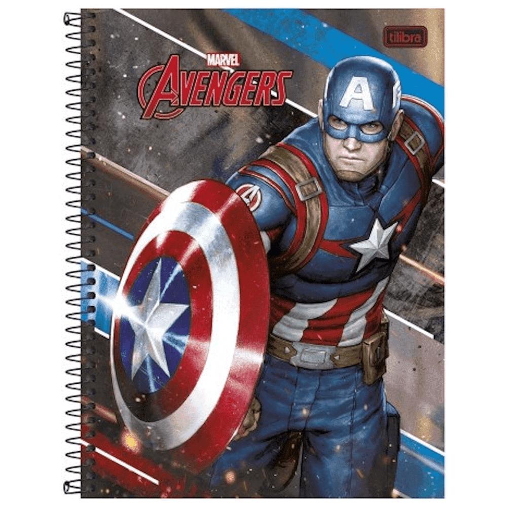Caderno Universitário Espiral Capa Dura 10 Matérias 200 Folhas Avengers Tilibra