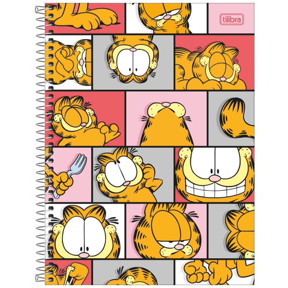 Caderno Universitário Tilibra Espiral Capa Dura 10 Matérias 200 Folhas Garfield
