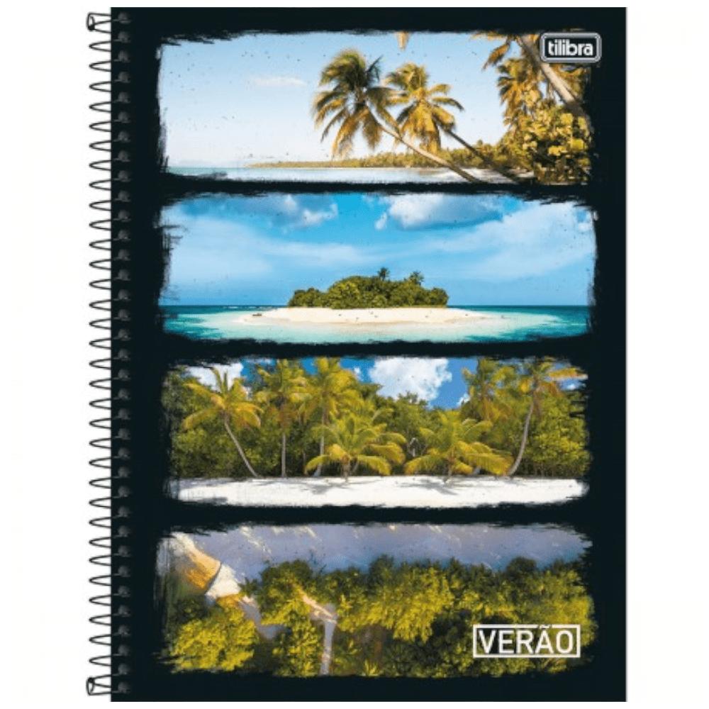 Caderno Universitário Tilibra Espiral Capa Dura 10 Matérias 200 Folhas Verão