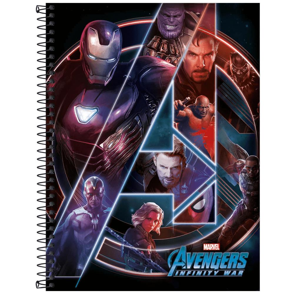 Caderno Universitário Tilibra Espiral Capa Dura 1 Matéria 80 Folhas Avengers Infinity War