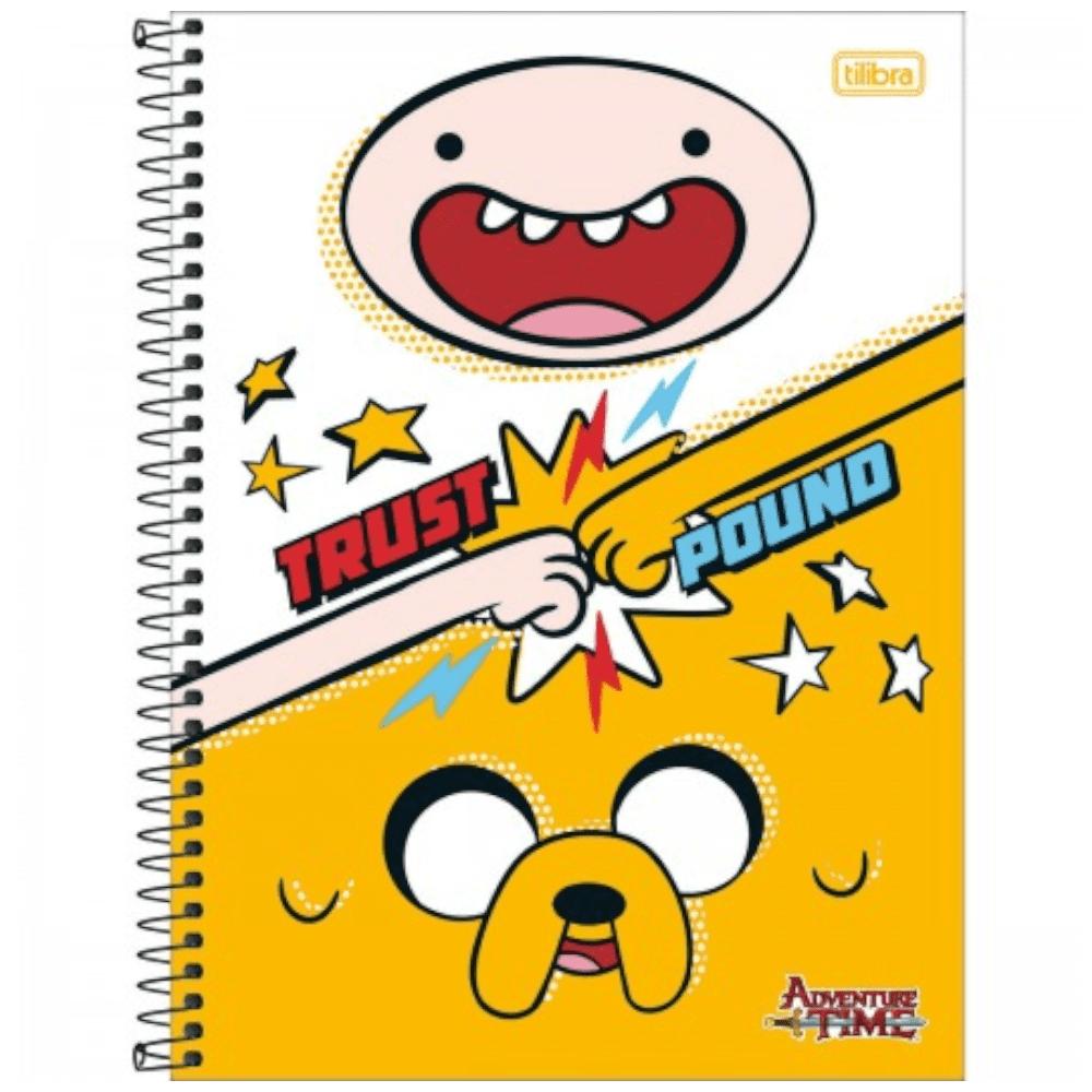 Caderno Universitário Tilibra Espiral Capa Dura 1 Matéria 96 Folhas Adventure Time