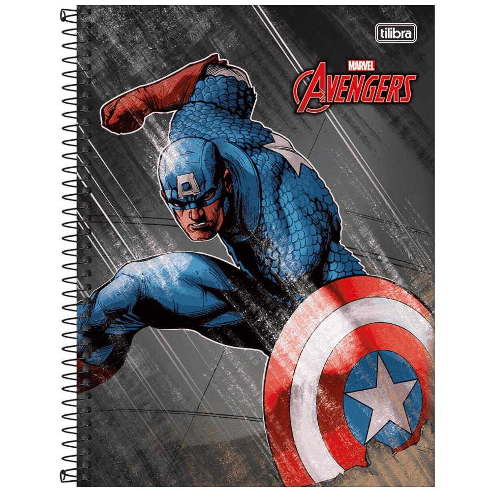 Caderno Universitário Tilibra Espiral Capa Dura 1 Matéria 96 Folhas Avengers