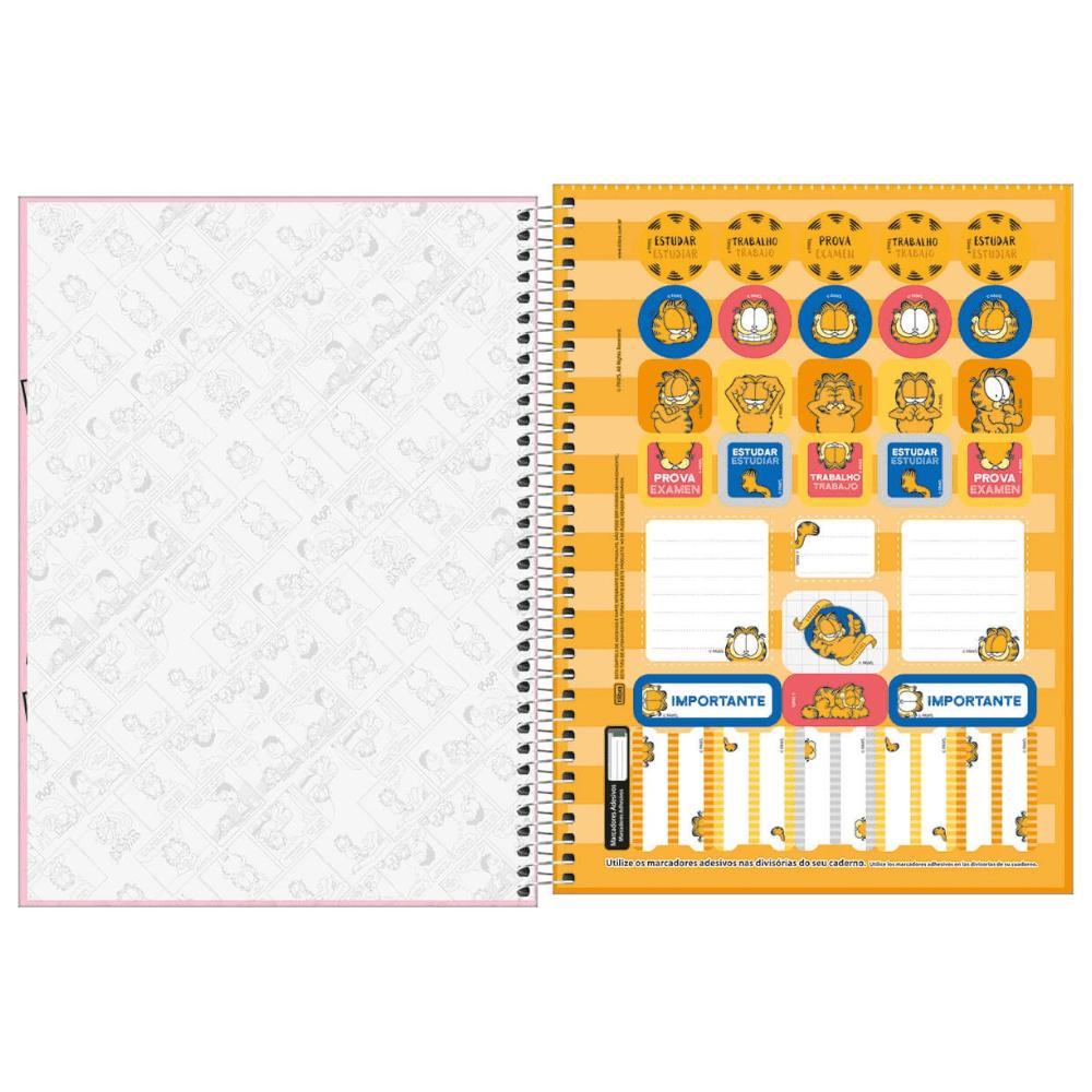 Caderno Universitário Tilibra Espiral Capa Dura 1 Matéria 96 Folhas Garfield