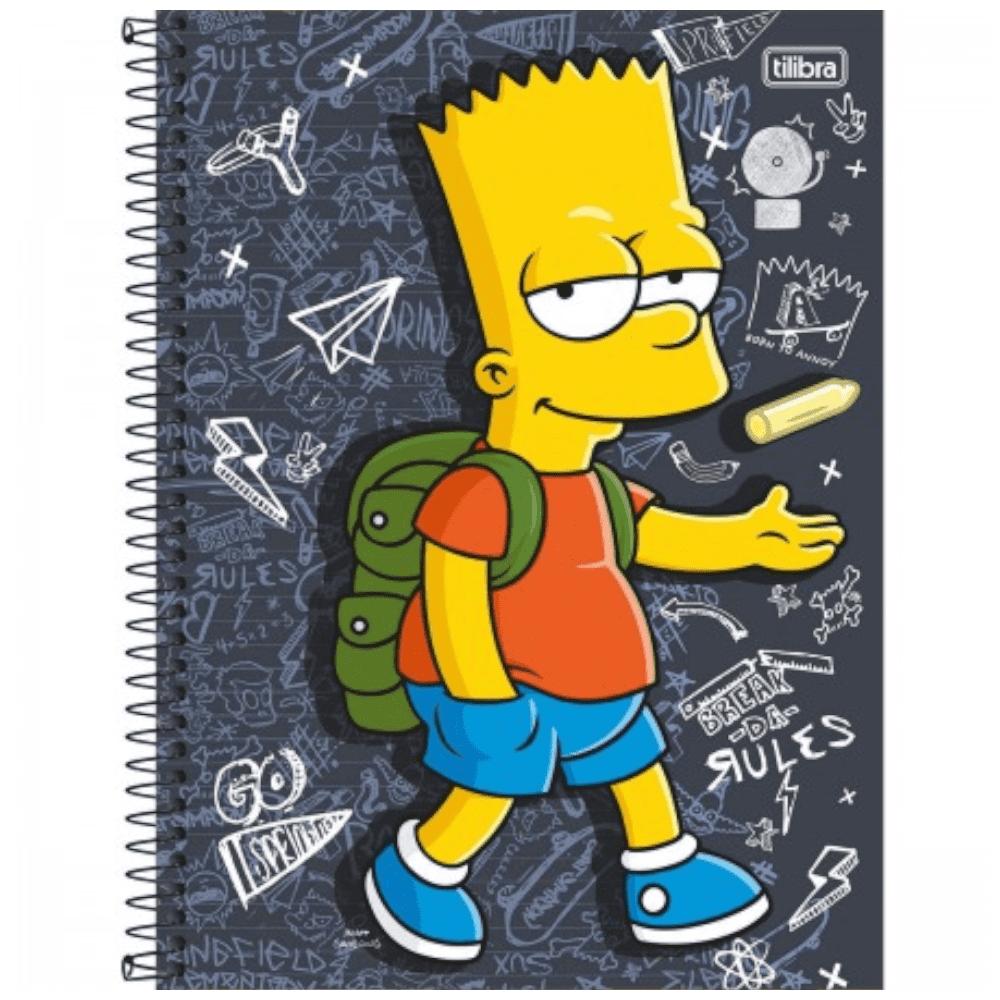 Caderno Universitário Tilibra Espiral Capa Dura 1 Matéria 96 Folhas Simpsons