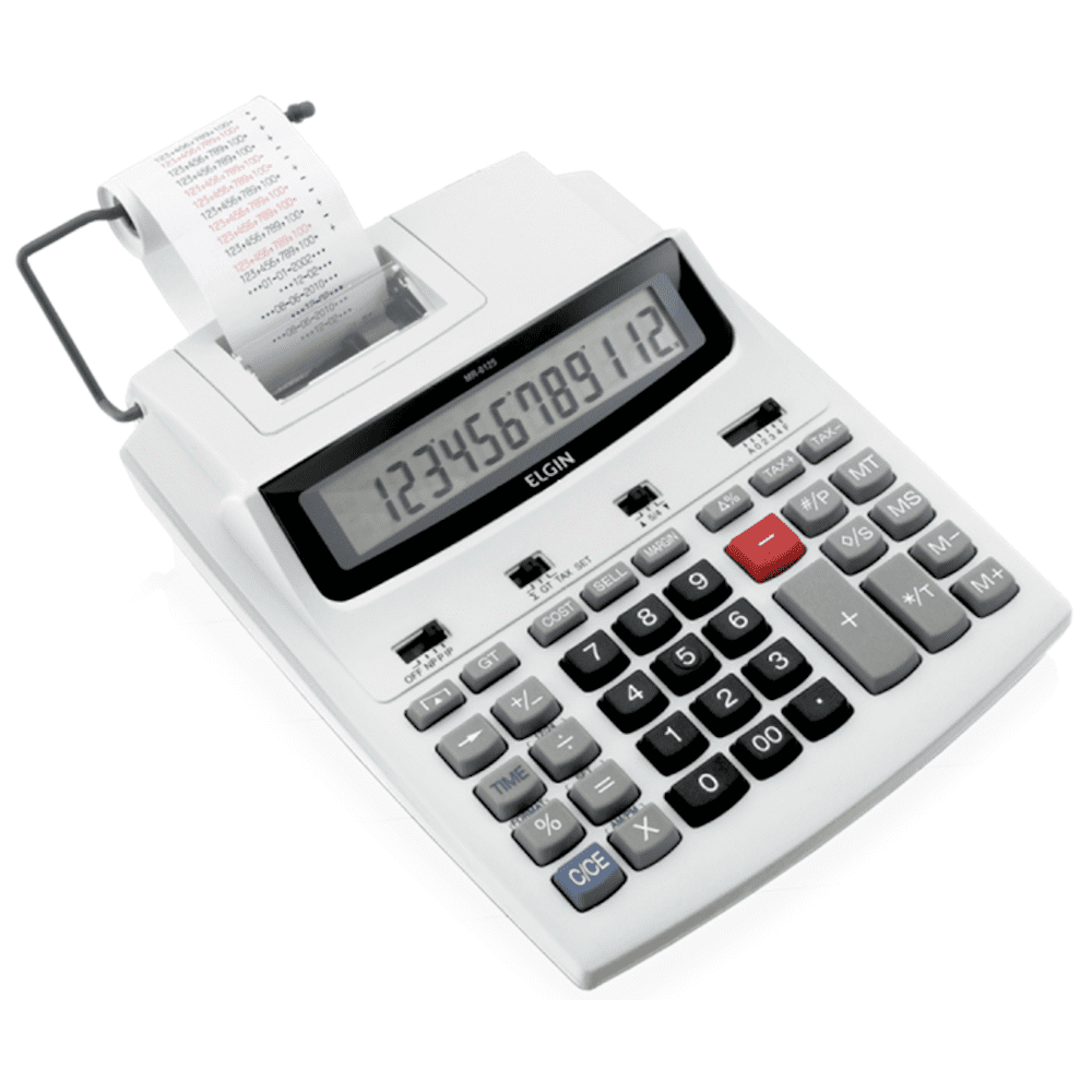 Calculadora de Mesa Elgin 12 Dígitos MR-6125 Bobina