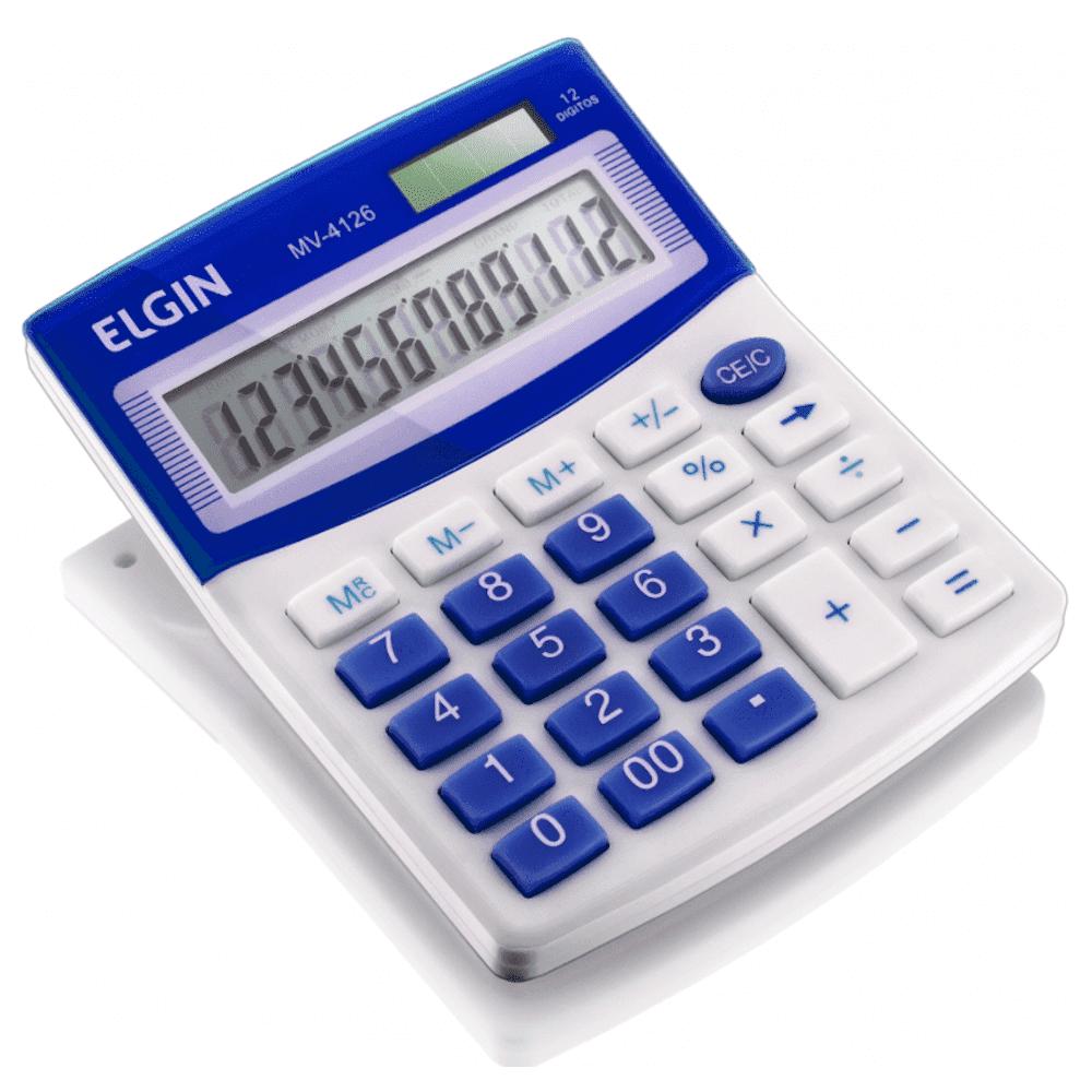 Calculadora de Mesa Elgin MV-4125 12 Dígitos Azul (Solar/Bateria)