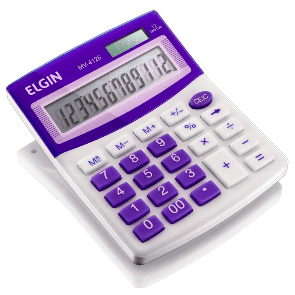 Calculadora de Mesa Elgin MV-4127 12 Dígitos Roxa (Solar/Bateria)