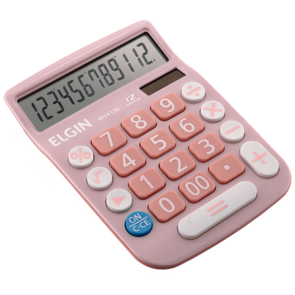 Calculadora de Mesa Elgin 12 Dígitos MV-4130 Rosa (Solar/Bateria)