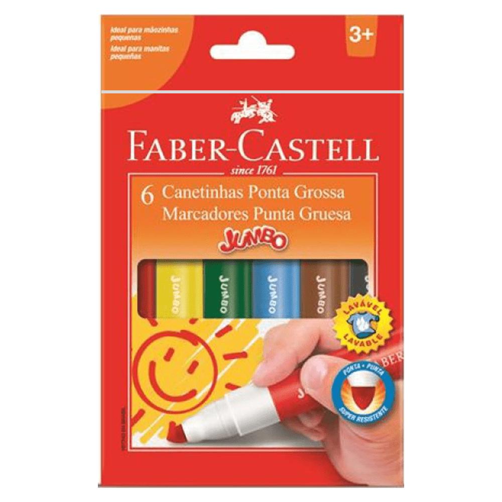 Caneta Hidrográfica 06 Cores Jumbo Faber Castell