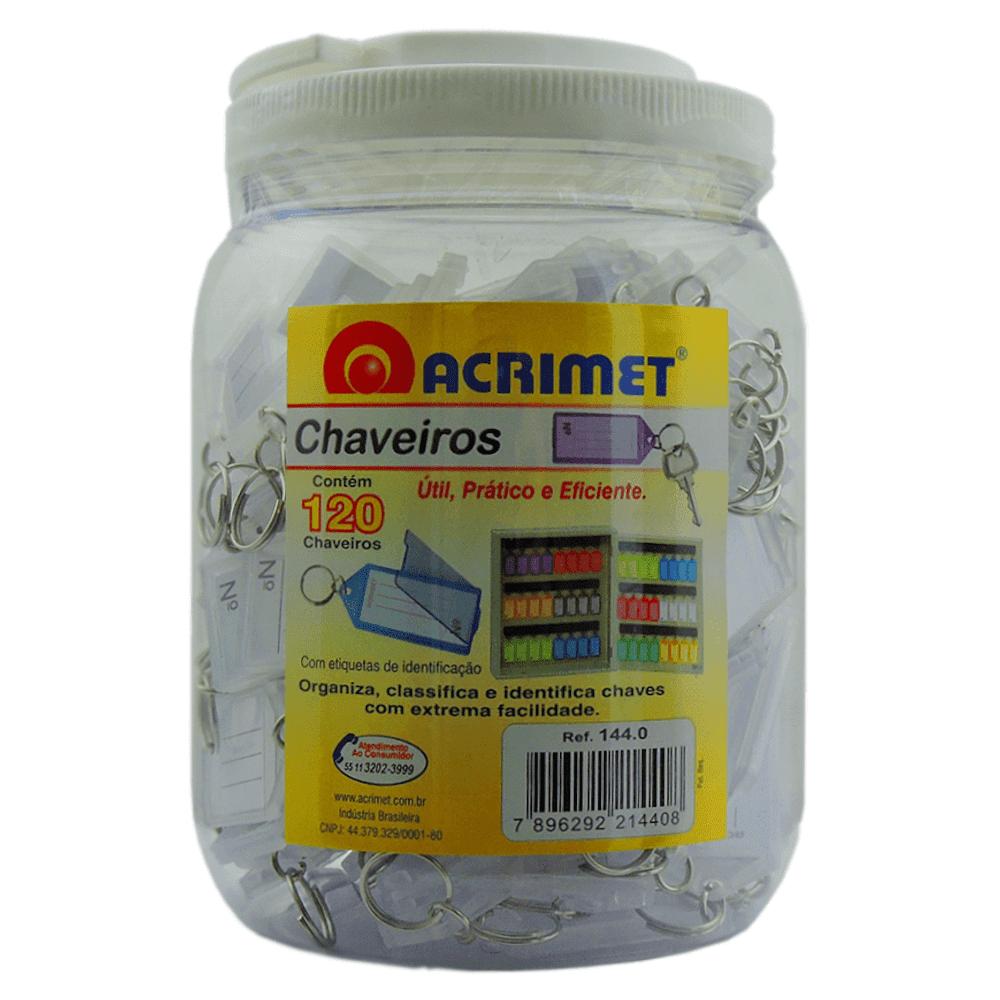 Chaveiro Etiqueta Acrimet Pote 120 Unidades Cristal 144.CR