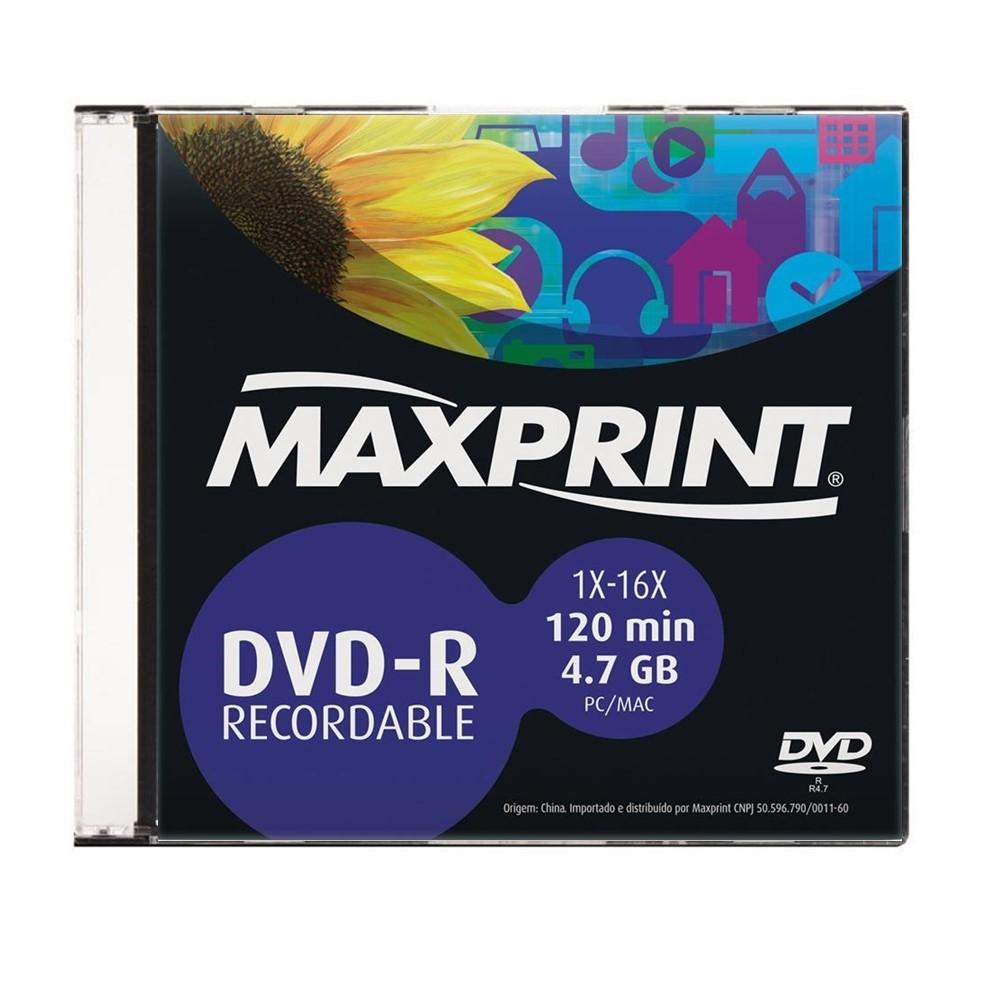 DVD-R Maxprint 4.7gb 1x-16x 120m Slim Cx/10unds